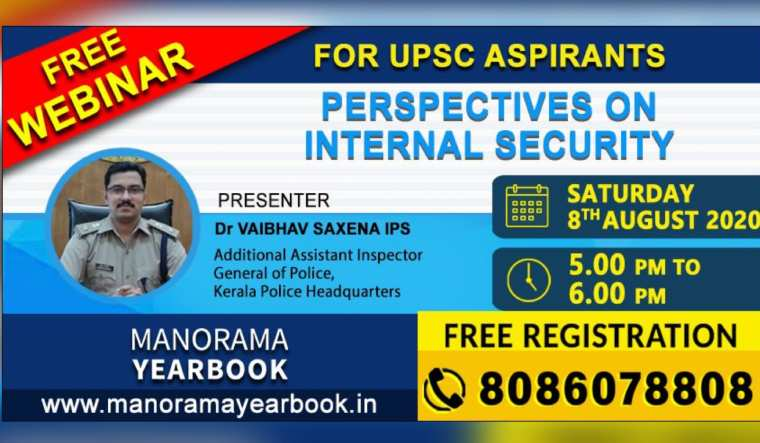 Manorama Yearbook Online free webinar on 'Perspectives on Internal Security'