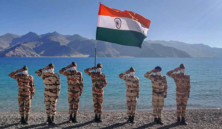 ITBP personnel celebrate the 74th Independence Day on the banks of Pangong Tso, in Ladakh