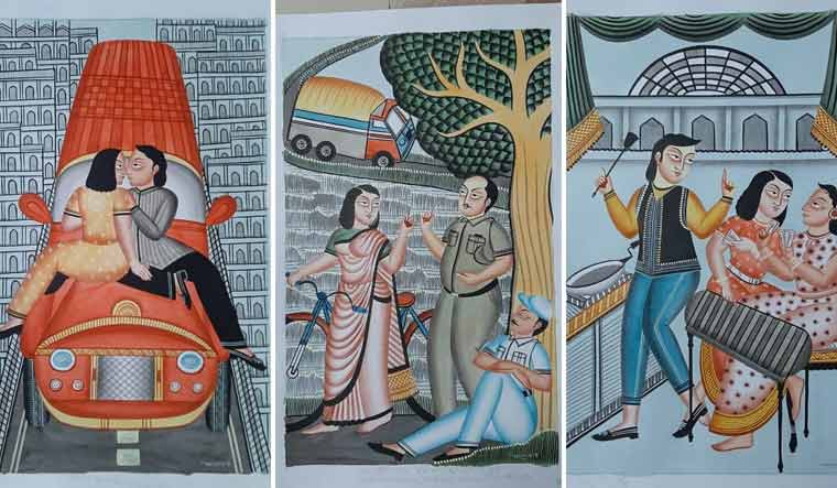When Bengal's folk paintings learn to embrace sanitizers and face masks
