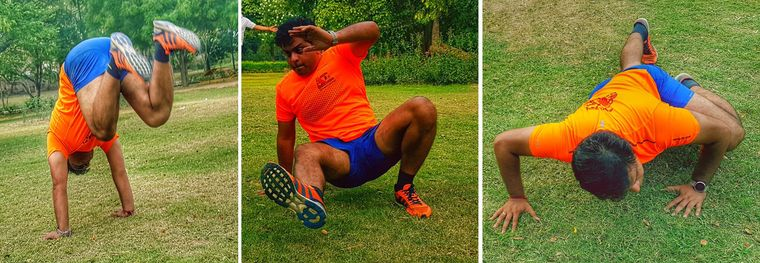 Animal instincts: Telecom professional Arun Mishra demonstrates the Animal Flow workout.