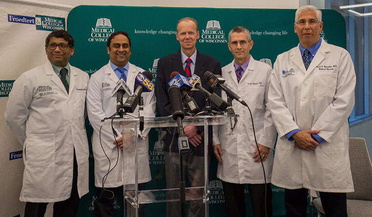 Triumphant Team: (From left to right) Parameswaran Hari,  Nirav Shah, Bret C., Bryon Johnson, professor of pediatrics in the division of hematology and oncology at MCW and David Margolis, MD, Children's Hospital of Wisconsin.
