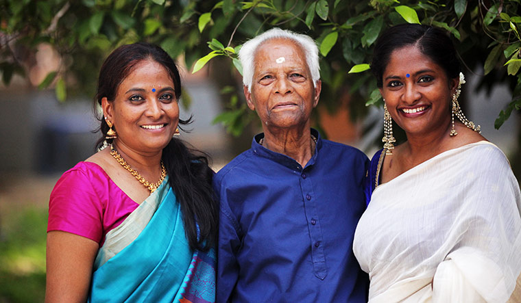Steadfast support: Shalini with her father and sister.
