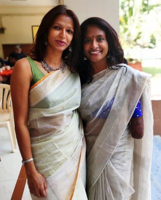 With her friend Anshu