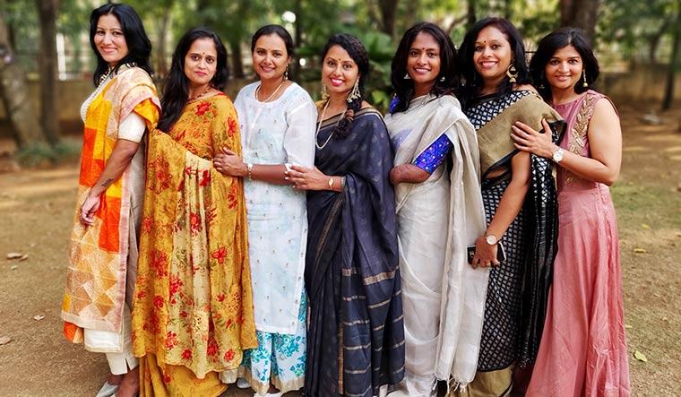 Lean on me: Shalini with her close friends: (left to right) Sapna, Viji, Vidya, Sapna, Shalini, Usha and Vanita.