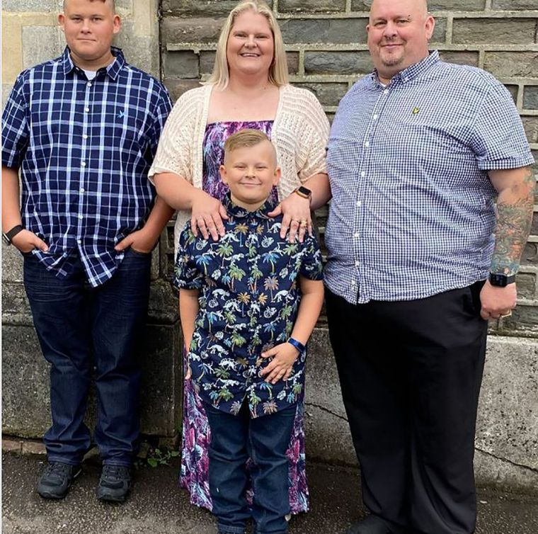 Family first: Louise with husband Wesley Mullinder and sons Cameron, 14, and Aiden, 8
