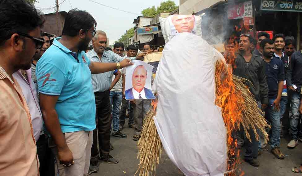 Protesters in Waghodia set fire to Patel's effigy