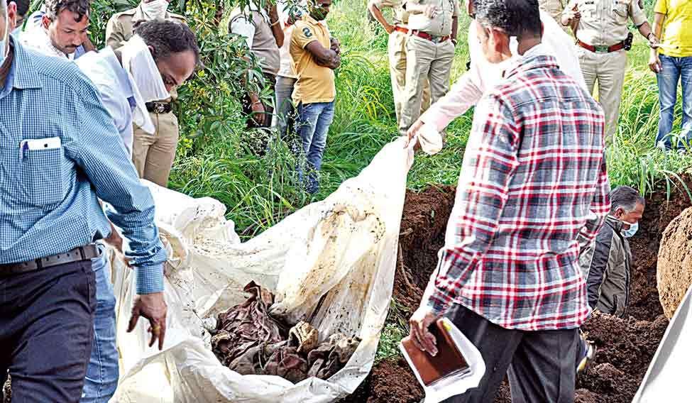 Crime, buried: Mangal Jedhe's body found at Pol's farmhouse.