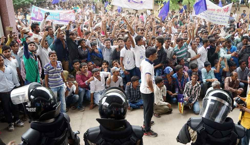 Dalit community holding a protest rally against the Una incident, in Bhuj