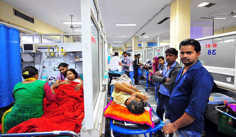 Choc-a-block: The emergency ward at AIIMS, which, like a few other referral centres, works 200 to 250 times its capacity owing to lack of good government hospitals