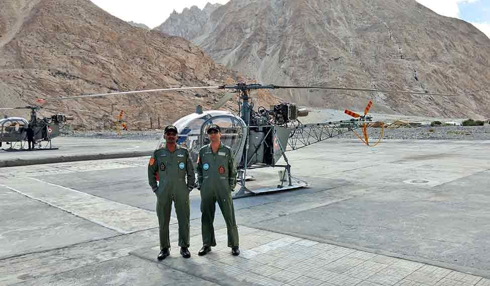 Commanding officer of the Siachen Pioneers Wing Commander S. Ramesh (left) and his deputy Wing Commander Anshul Saxena