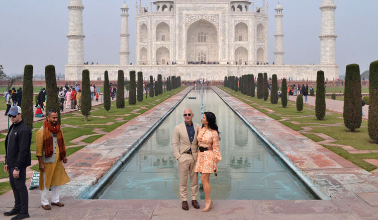 On top of the world: Amazon CEO Jeff Bezos and his partner Lauren Sánchez at the Taj Mahal during a visit to India | AP