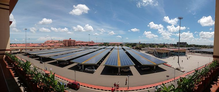 Clean future: The 2.7MW solar carport commissioned by Tata Power at Cochin International Airport | Courtesy TATA