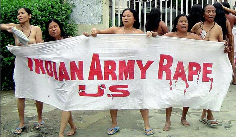 Mothers of fury: Women protesters at Kangla Fort in 2004 | Getty Images