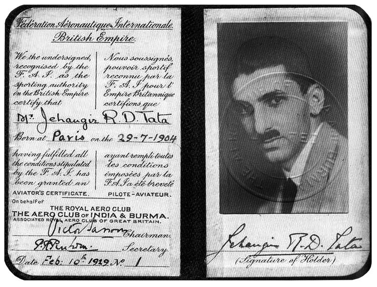 J.R.D. Tata's flying licence