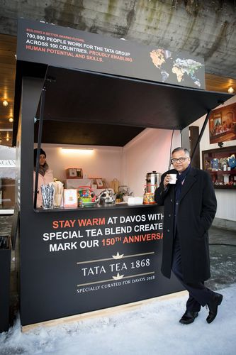 Matter of pride: Tata Sons chairman N. Chandrasekaran drinking the special tea blend created for Tata's 150 years at Davos.
