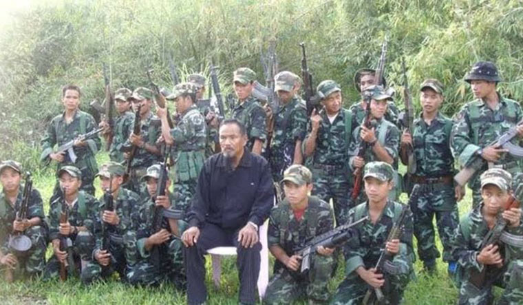Return of the native: Khango Konyak, the ousted NSCN(K) chief, with his followers.
