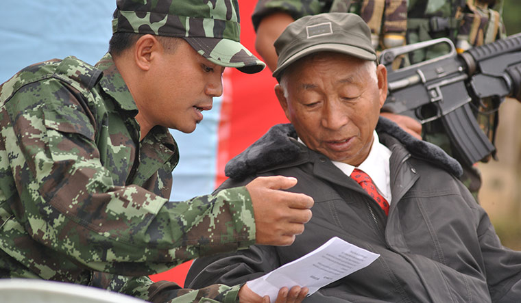Man in charge: Yung Aung (left) with S.S. Khaplang. Aung replaced Konyak as NSCN(K) chairman in August | Rajeev Bhattacharyya