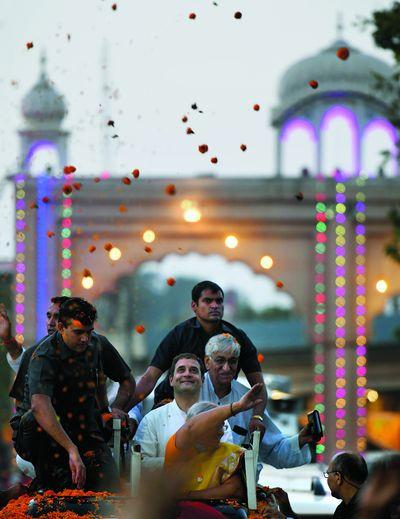 Eyeing victory: Congress president Rahul Gandhi during a roadshow in Raipur   Sanjoy Ghosh
