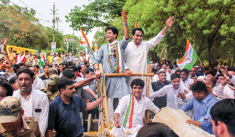 To avoid dissension within the Congress, Kamal Nath (right) was made state chief, and Jyotiraditya Scindia was made poll campaign chief | PTI
