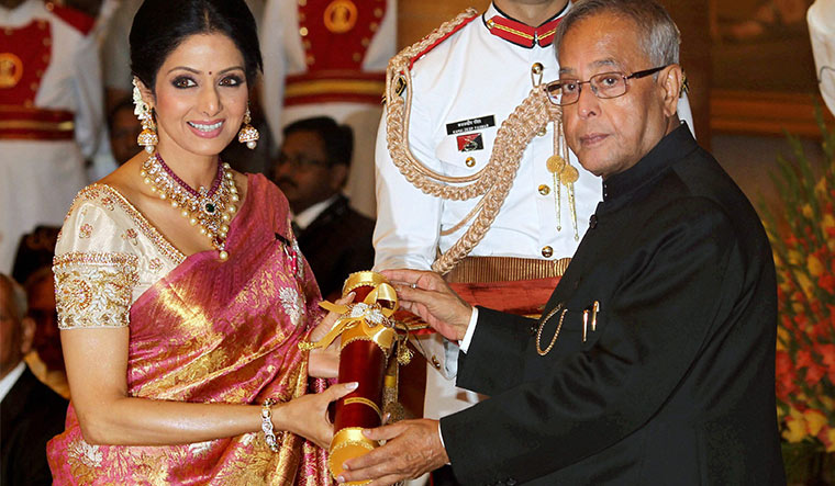 Sri and Padma Shri: Sridevi, receiving the Padma Shri from then president Pranab Mukherjee at the Rashtrapati Bhavan in 2013   PTI