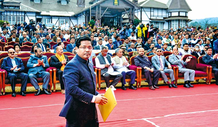 Leading the change: Conrad Sangma at his swearing-in as Meghalaya chief minister on March 6 | AFP