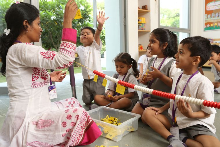 Learning the ropes: Children learning through play at MatriKiran School, Gurugram.