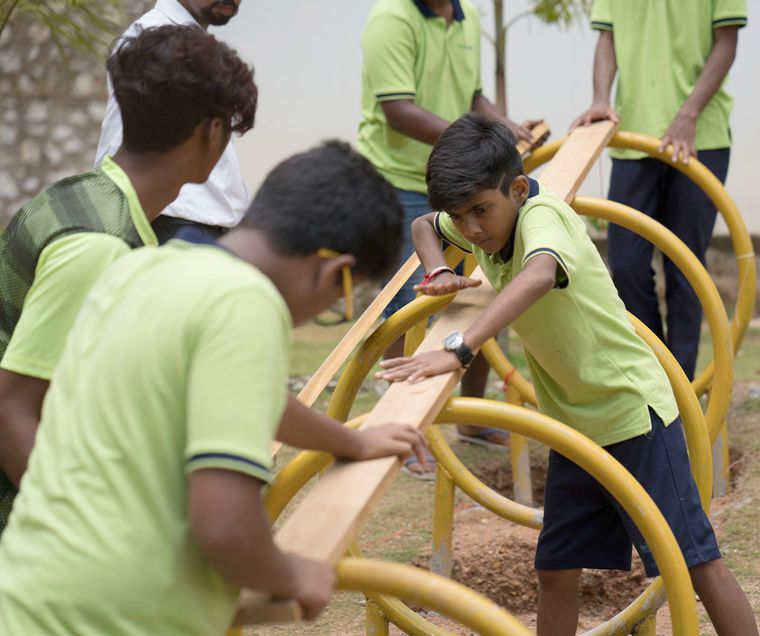 Back to basics: Students at GreenValley School, Thiruvananthapuram, participating in an outdoor activity class.