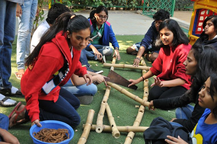 School of life: Outdoor classes are a common feature of alternative education. A scene from Riverside School, Ahmedabad.