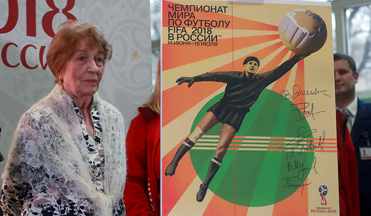 A legend, remembered: Lev Yashin's widow, Valentina, at a ceremony to unveil the 2018 FIFA World Cup official poster | Getty Images