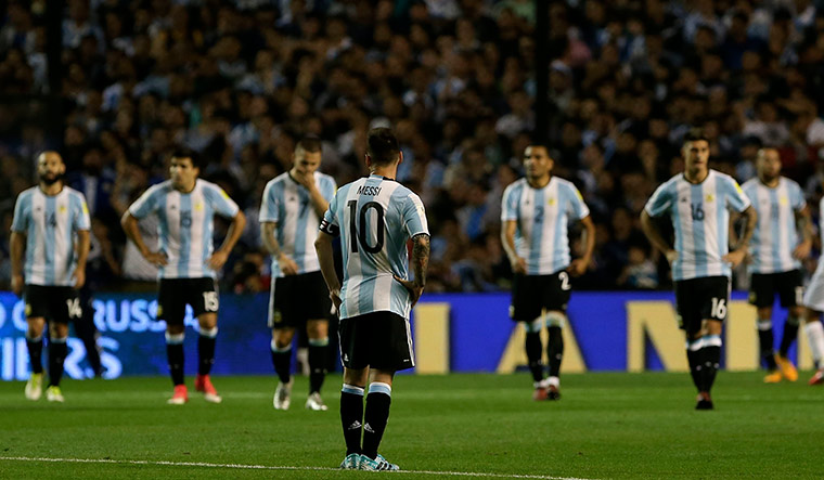 Calling the shots: Lionel Messi and his Argentine teammates after a qualifier against Peru | Getty Images