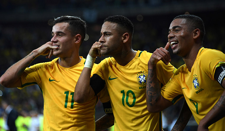 Brazil's Philippe Coutinho, Neymar and Gabriel Jesus celebrate after scoring against Argentina in a qualifier | Getty Images