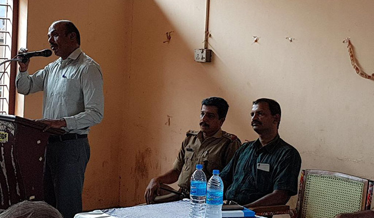 Combating terror: A counter-radicalisation session in progress at Nadapuram, Kerala.