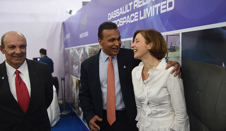 Uneasy ties: (From left) Dassault CEO Éric Trappier, Anil Ambani of Reliance Defence and French Defence Minister Florence Parly at an event in Nagpur in October last year | AFP