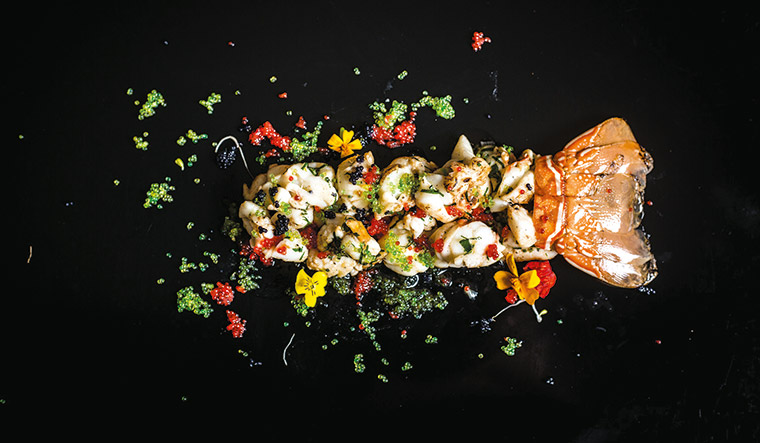 Riot of colours: truffled lobster and caviar.