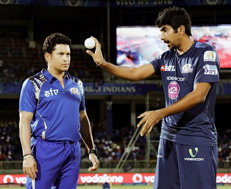 Learning from the master: Jasprit Bumrah with Sachin Tendulkar | Picture Courtesy: Jasprit Bumrah, Instagram Page