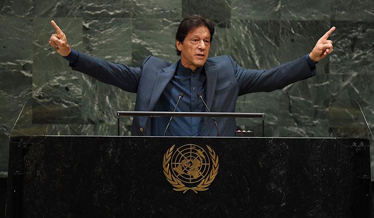 Fiery speech: Imran Khan addresses the UN General Assembly in September | AFP