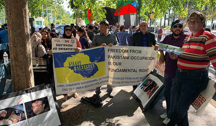 United front: Dissident Pakistani groups stage a joint protest outside the UN in September.