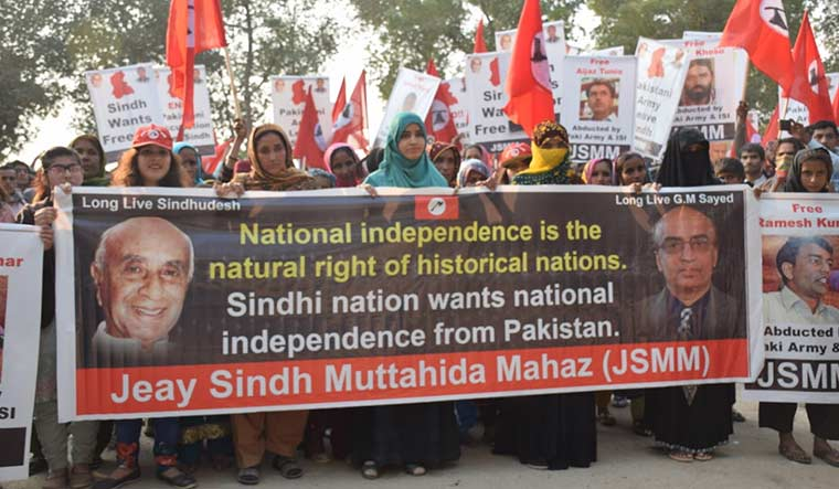 Up in arms: A Jeay Sindh Muttahida Mahaz protest in Sann, Sindh, in January this year.