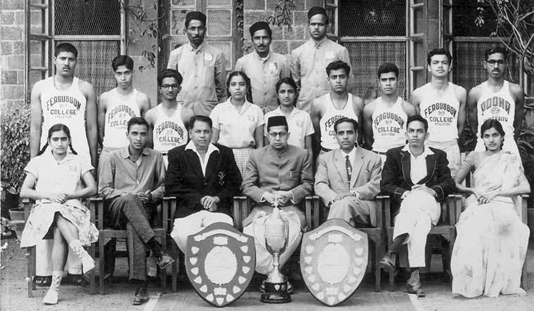 Down memory lane: Gadgil (seated second from right) was captain of the Fergusson College athletics team in 1961 | Madhav Gadgil Collections