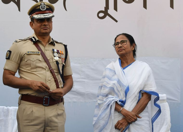 Abiding support: Mamata Banerjee with Kolkata Police Commissioner Rajeev Kumar | Salil Bera