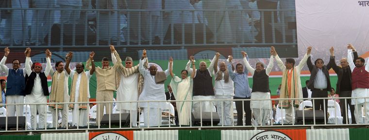 Significant support: Mamata Banerjee with opposition leaders at the United India rally in Kolkata in January | Salil Bera