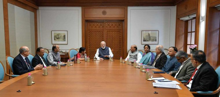 Plan of action: Prime Minister Modi addresses a Cabinet Committee on Security meeting on February 26 | AP