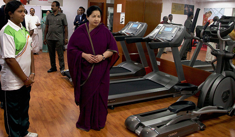 Fighting to stay fit: Jayalalithaa inaugurating a gym at the secretariat in Chennai in 2014 | PTI