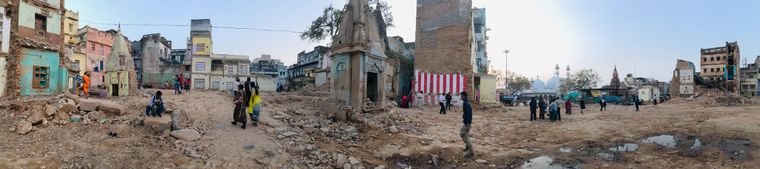 Swept aside: Panoramic view of the work site of the Kashi Vishwanath Corridor.