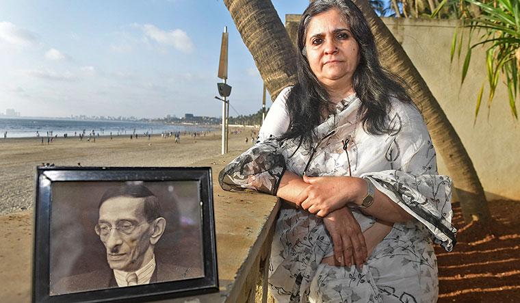 Teesta Setalvad with her great-grandfather's portrait