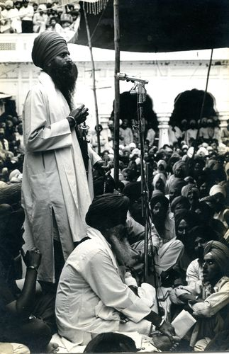 Days of terror: Jarnail Singh Bhindranwale addressing a crowd in the Golden Temple.