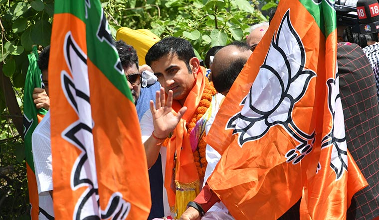 New innings: Gautam Gambhir of the BJP on his way to file his nomination papers from the East Delhi constituency | Arvind Jain