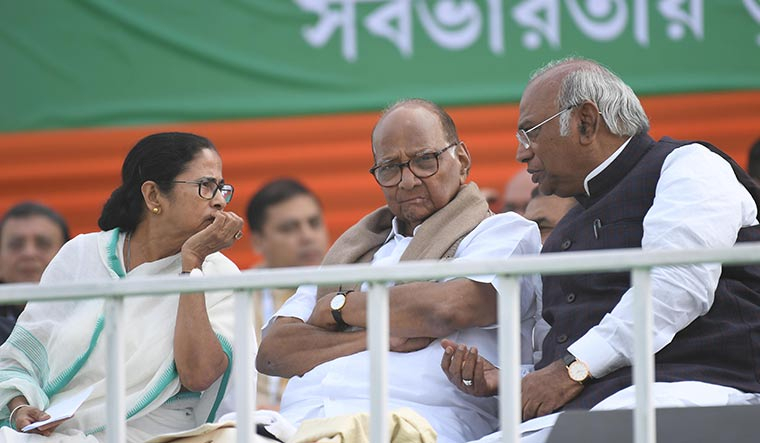 The challengers: (From left) Mamata Banerjee of the Trinamool, Sharad Pawar of the NCP and Mallikarjun Kharge of the Congress at an opposition rally in Kolkata | Salil Bera
