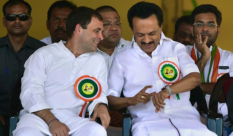 Rahul Gandhi and M.K. Stalin at a Congress-DMK rally in Tamil Nadu | PTI