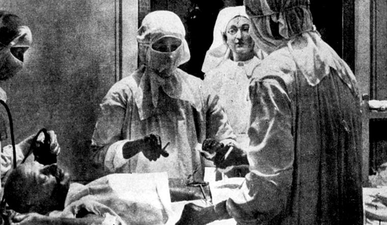 Under the knife: Gandhi undergoing an operation at the sassoon hospital, poona, in 1924 | Courtesy: Gandhi: An Illustrated Biography/Roli Books/Dinodia